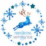 Waterverf mooie blauwe herten met sneeuwvlokken Stock Afbeelding
