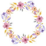 Waterverf Mooie Bloem Hand Geschilderd Garland Floral Wreath Stock Foto
