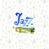 Waterverf muzikale instrumenten Jazzillustratie met trompet, nota's en het van letters voorzien Witte achtergrond royalty-vrije illustratie