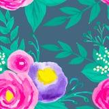 Waterverf naadloos bloemenpatroon Stock Afbeeldingen
