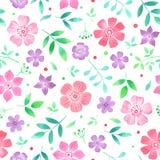 Waterverf naadloos bloemenpatroon met bloemen en bladeren Stock Fotografie