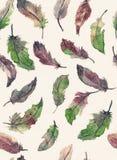 Waterverf naadloos hand getrokken patroon met veren in groen, p Royalty-vrije Stock Foto's