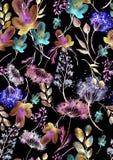 Waterverf naadloos patroon, achtergrond met een bloemenpatroon Mooie uitstekende tekeningen van installaties, bloemen, wilgentak, royalty-vrije illustratie