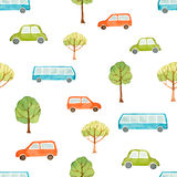 Waterverf naadloos patroon, auto, bus en bomen vector illustratie