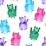 Waterverf naadloos patroon De hand schilderde gekleurd die kattensilhouet op witte achtergrond wordt geïsoleerd vector illustratie