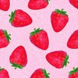 Waterverf naadloos patroon met aardbeien op roze achtergrond Hand getrokken ontwerp De vectorillustratie van het de zomerfruit Stock Fotografie