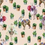 Waterverf naadloos patroon met alpaca, lama, struisvogel en cactus stock illustratie
