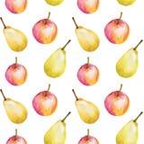 Waterverf naadloos patroon met appelen en peren Hand getrokken ontwerp, witte achtergrond, de illustratie van het de zomerfruit v stock illustratie