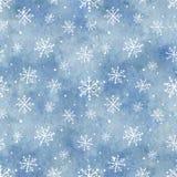Waterverf naadloos patroon met blauw gradiëntachtergrond en Sn royalty-vrije illustratie