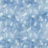 Waterverf naadloos patroon met blauwe gradiëntachtergrond en tw stock illustratie
