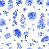Waterverf naadloos patroon met blauwe rozen, seringen Stock Foto
