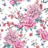 Waterverf naadloos patroon met bloeiende kers, pioenen, royalty-vrije illustratie