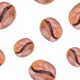 Waterverf naadloos patroon met coffe Stock Afbeeldingen