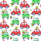 Waterverf naadloos patroon met de auto's en de giften van de beeldverhaalvakantie Nieuw jaar De illustratie van de viering Vrolij vector illustratie