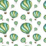 Waterverf naadloos patroon met de ballon van de beeldverhaal hete lucht op witte achtergrond stock illustratie