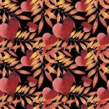 Waterverf naadloos patroon met de herfstbladeren royalty-vrije illustratie