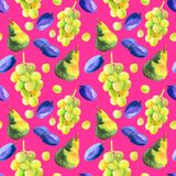 Waterverf naadloos patroon met hand getrokken verse sappige vruchten royalty-vrije illustratie