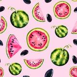 Waterverf naadloos patroon met het beeld van een watermeloen Sappige pulp en zaden voor drukontwerp, banner, affiche, dekking, royalty-vrije stock afbeeldingen