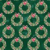 Waterverf naadloos patroon met Kerstmiskronen op donkergroene achtergrond stock illustratie