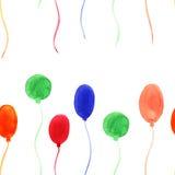 Waterverf naadloos patroon met kleurrijke ballons Royalty-vrije Stock Afbeelding