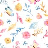 Waterverf naadloos patroon met leuke beeldverhaal romantische eenhoorn en bloemen royalty-vrije illustratie