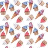 Waterverf naadloos patroon met rood, blauw en wit cupcakes en roomijs stock foto