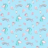 Waterverf naadloos patroon met roze en blauwe eenhoorns, harten en sterren op hemel blauwe achtergrond royalty-vrije illustratie