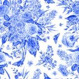Waterverf naadloos patroon met rozen, seringen Stock Afbeelding
