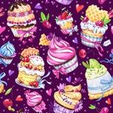Waterverf naadloos patroon met smakelijke desserts, cakes en bessen Kleurrijke de zomerachtergrond Originele getrokken hand royalty-vrije illustratie