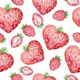 Waterverf naadloos patroon met verse aardbeien Royalty-vrije Stock Fotografie