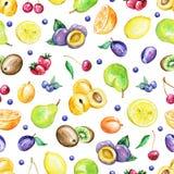 Waterverf naadloos patroon met vruchten stock illustratie