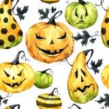 Waterverf naadloos patroon, pompoenen met leafes Halloween-vakantieillustratie Grappig voedsel Magisch, symbool van verschrikking royalty-vrije illustratie