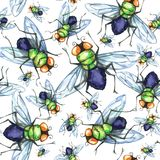 Waterverf naadloos patroon, troep van vliegen Halloween-vakantieillustratie grappige insecten Kan als prentbriefkaar worden gebru vector illustratie