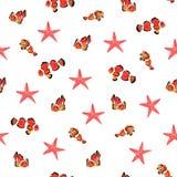 Waterverf naadloos patroon van Amphiprion-percula, Asterias stock illustratie