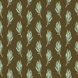 Waterverf naadloos patroon van groene proteabladeren royalty-vrije illustratie