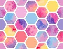 Waterverf naadloos patroon van kleurrijke zeshoeken Stock Foto's