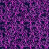 Waterverf naadloos patroon van koralen op een blauwe achtergrond royalty-vrije illustratie