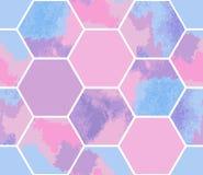 Waterverf naadloos patroon van pastelkleurzeshoeken Stock Foto's