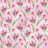Waterverf naadloos patroon van roze bloemen en groene bladeren Stock Afbeeldingen