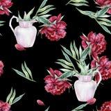 Waterverf naadloos patroon van roze pioenbloem in een vaas vector illustratie