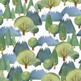 Waterverf naadloos patroon van vlakke reeks van bomen en blauwe mounta Royalty-vrije Stock Foto's