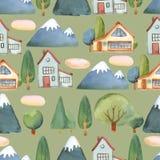 Waterverf naadloos patroon van vlakke reeks van bomen, huis en blauw Royalty-vrije Stock Fotografie