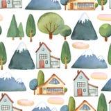 Waterverf naadloos patroon van vlakke reeks van bomen, huis en blauw Royalty-vrije Stock Foto's