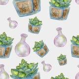 Waterverf naadloos van cactus en roze fles vector illustratie
