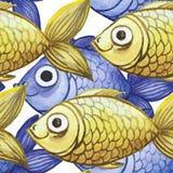 Waterverf naadloze achtergrond, gele en purpere vissen, groot patroon Royalty-vrije Stock Fotografie