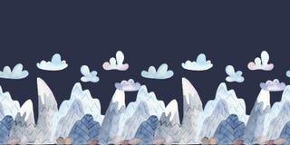 Waterverf naadloze grens met beeldverhaalbergen en wolken stock illustratie