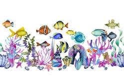Waterverf oceanic tropische exotische vissen onder de koralen en overzeese stenen naadloze grens vector illustratie