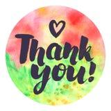 Waterverf om abstract ontwerp met Thank u! het van letters voorzien Royalty-vrije Stock Afbeeldingen