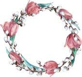 Waterverf om de lentekroon met roze die tulpen en pussy-wilg, op witte achtergrond worden geïsoleerd - Illustratie stock illustratie