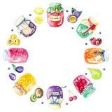 Waterverf om kader met jam en vruchten stock illustratie